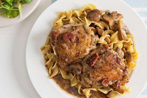 French Cider and Mustard–Braised Chicken