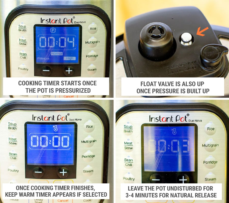 Cooking rice in Instant Pot display settings steps