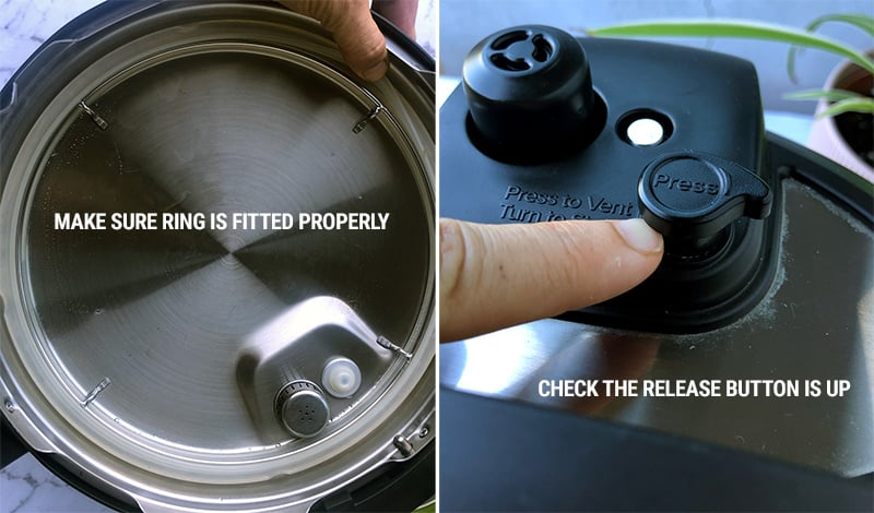 Checking sealing ring and quick release button on Instant Pot