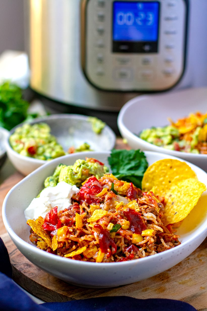 Instant Pot Mexican Rice Casserole With Ground Beef & Guacamole