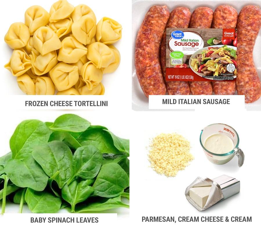 Ingredients for Instant Pot tortellini alfredo