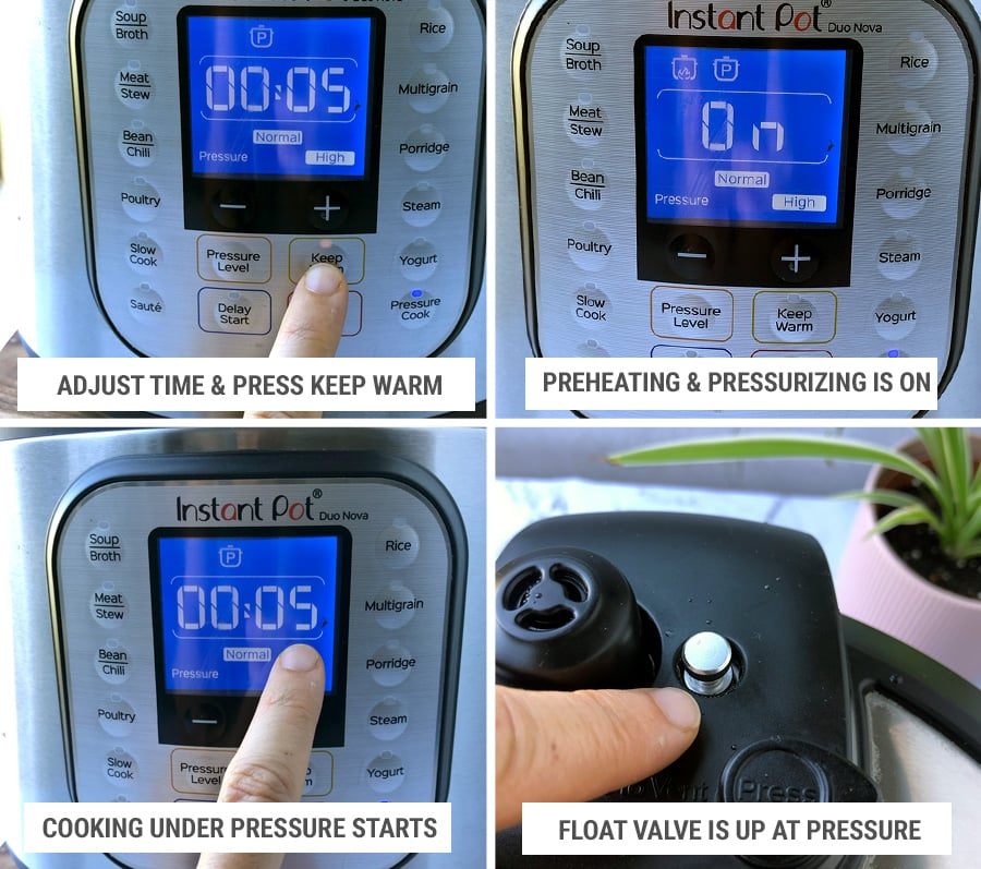 How to select manual settings on Instant Pot pressure cooker