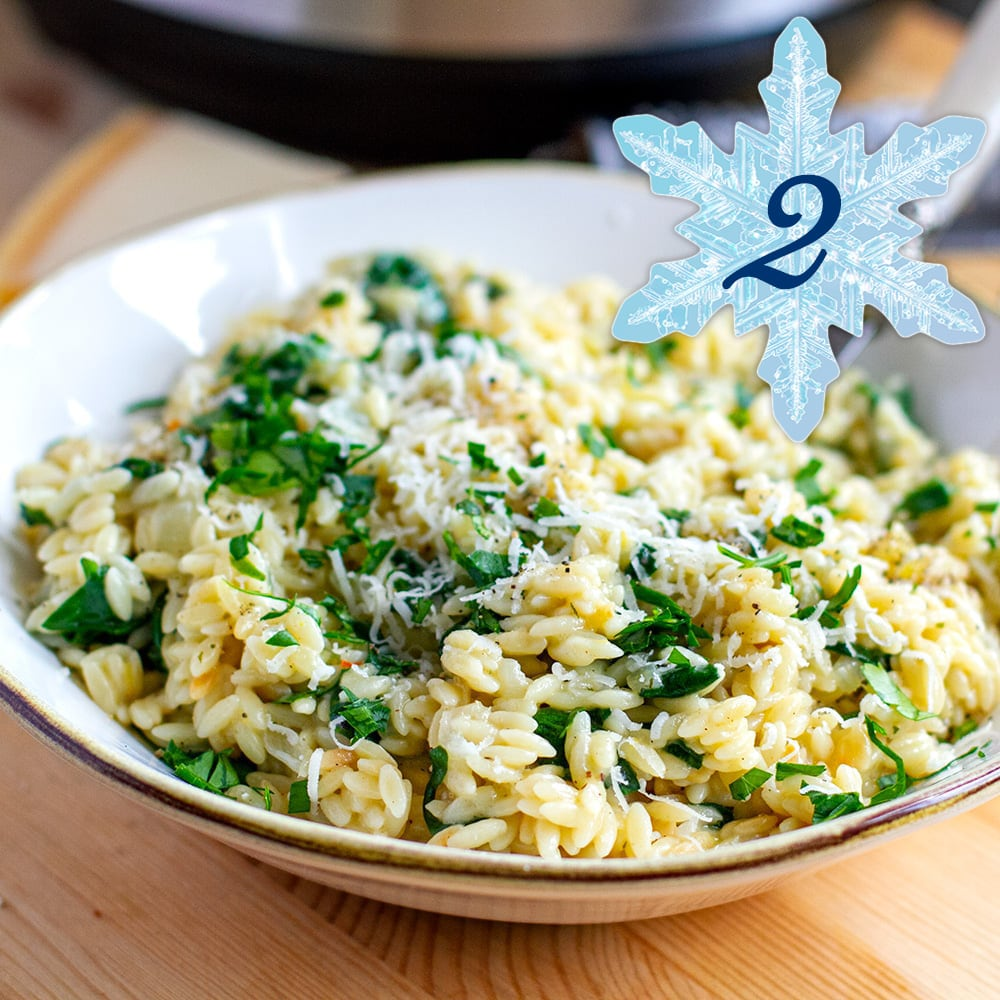INSTANT POT ORZO WITH LEMON, PARMESAN & SPINACH