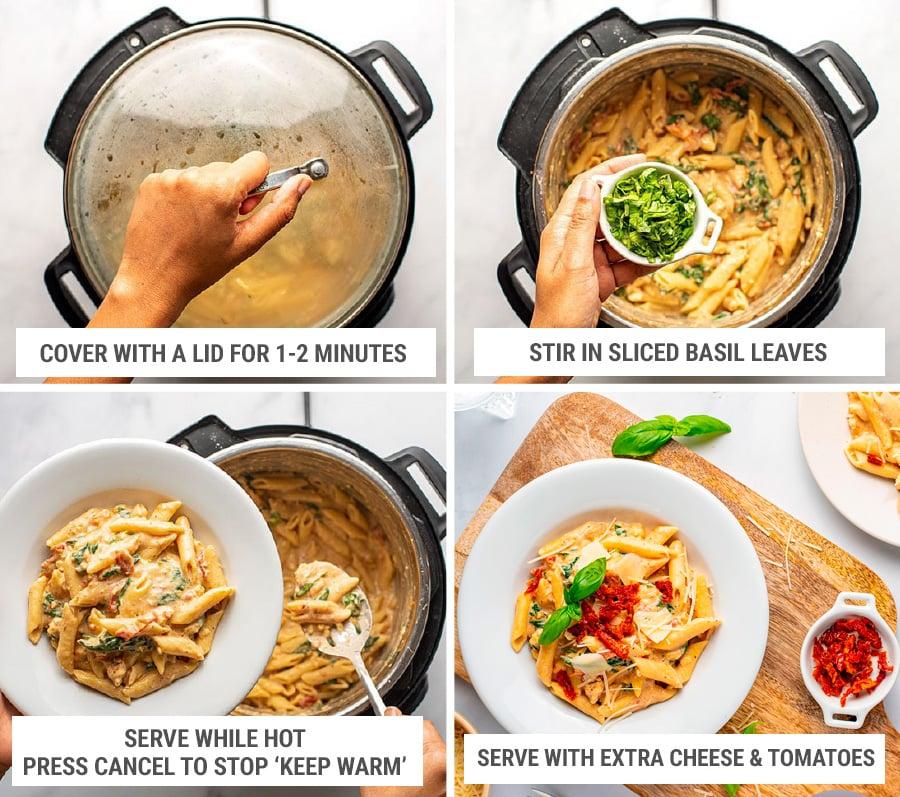 Pressure cooker Tuscan Chicken pasta step 7