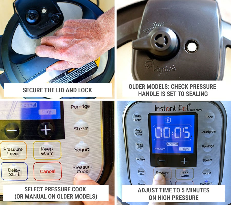 Set pressure cooking settings for Instant Pot creamy chicken pasta dish Step 3