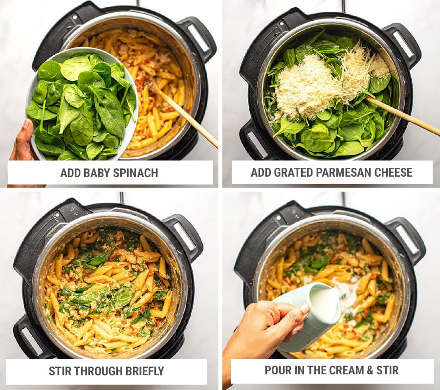 Finishing Tuscan chicken pasta in Instant Pot with spinach, cheese and cream Step 6