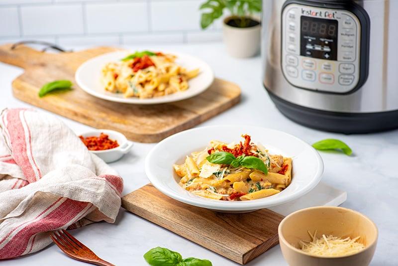 Instant Pot chicken pasta in creamy sauce