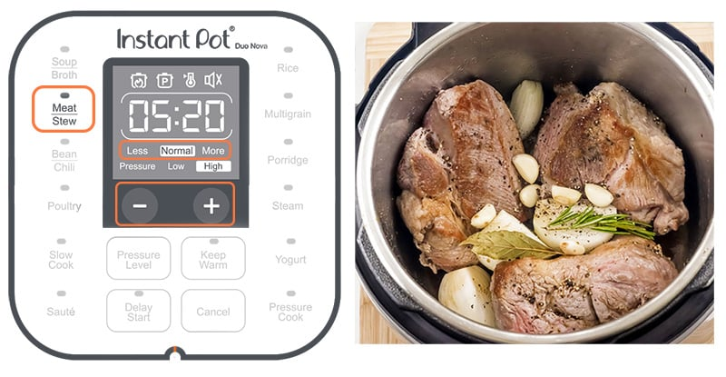 Instant Pot meat or stew setting explained