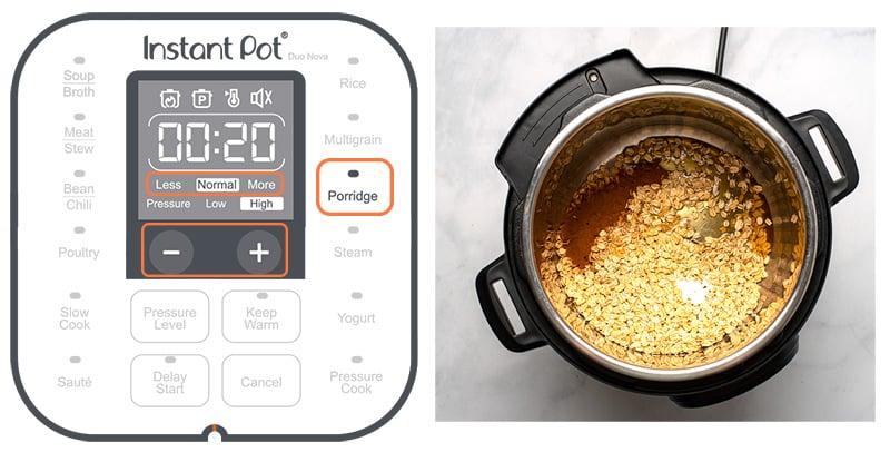 Instant pot porridge setting button explained