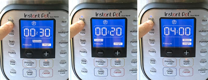 Instant Pot less, normal and more modes