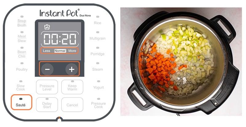 Instant Pot Saute setting button explained