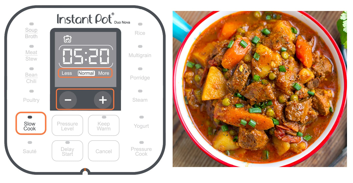 Instant Pot slow cook setting button explained