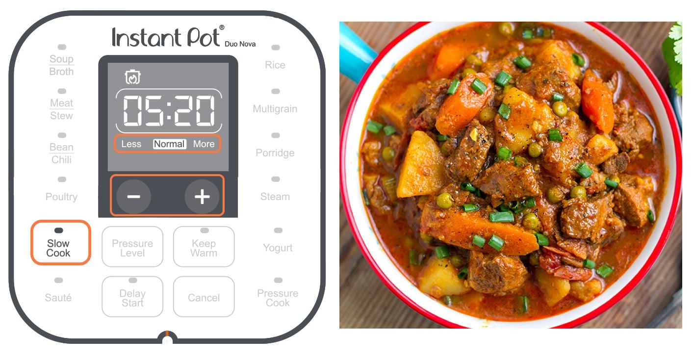 Instant Pot slow cook setting button explained