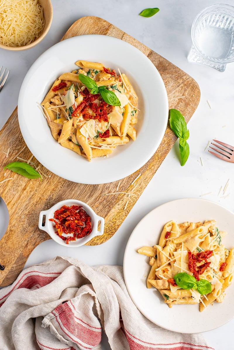 Tuscan chicken pasta in Instant Pot