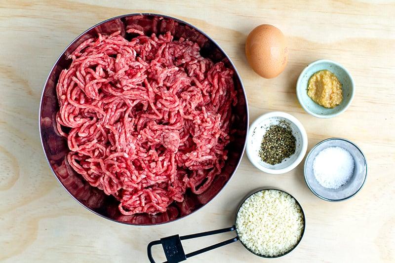 Ingredients for Salisbury steak meatballs