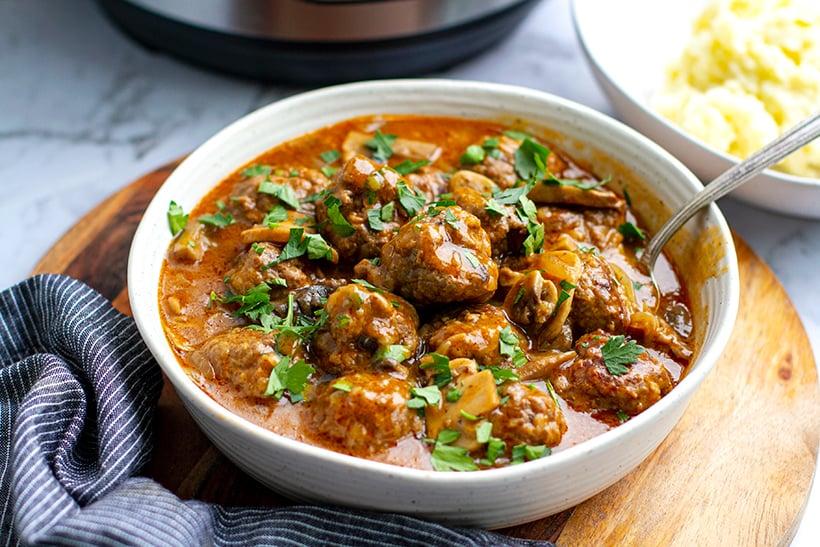 Easy Salisbury steak meatballs cooked in Instant Pot pressure cooker
