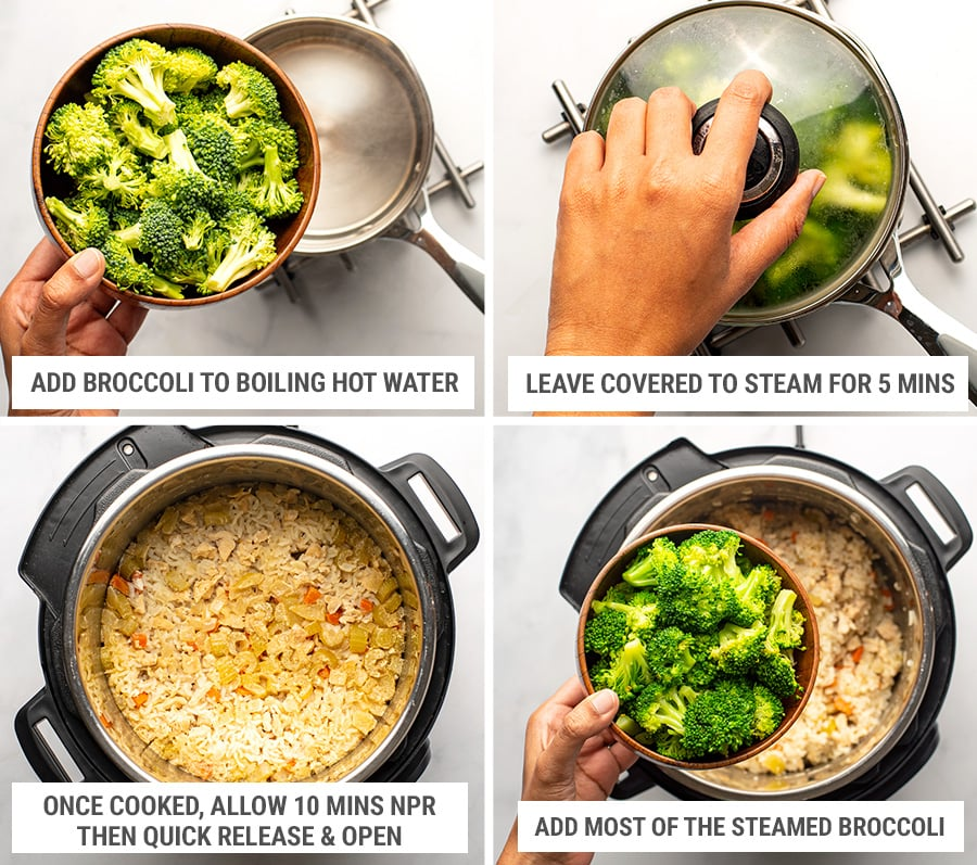 Making pressure cooker chicken broccoli and rice casserole Steps 3
