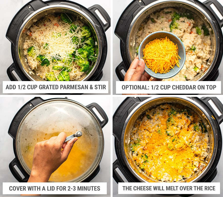 Finishing chicken rice casserole in Instant Pot with broccoli and cheese - Step 4