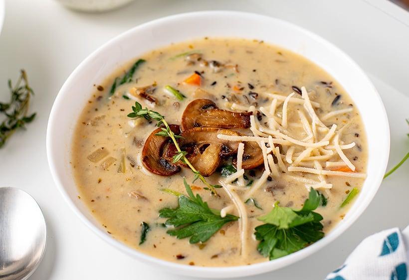 Creamy mushroom wild rice soup recipe