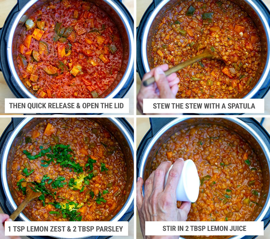 Final step - finishing the lentil stew after cooking with parsley and lemon