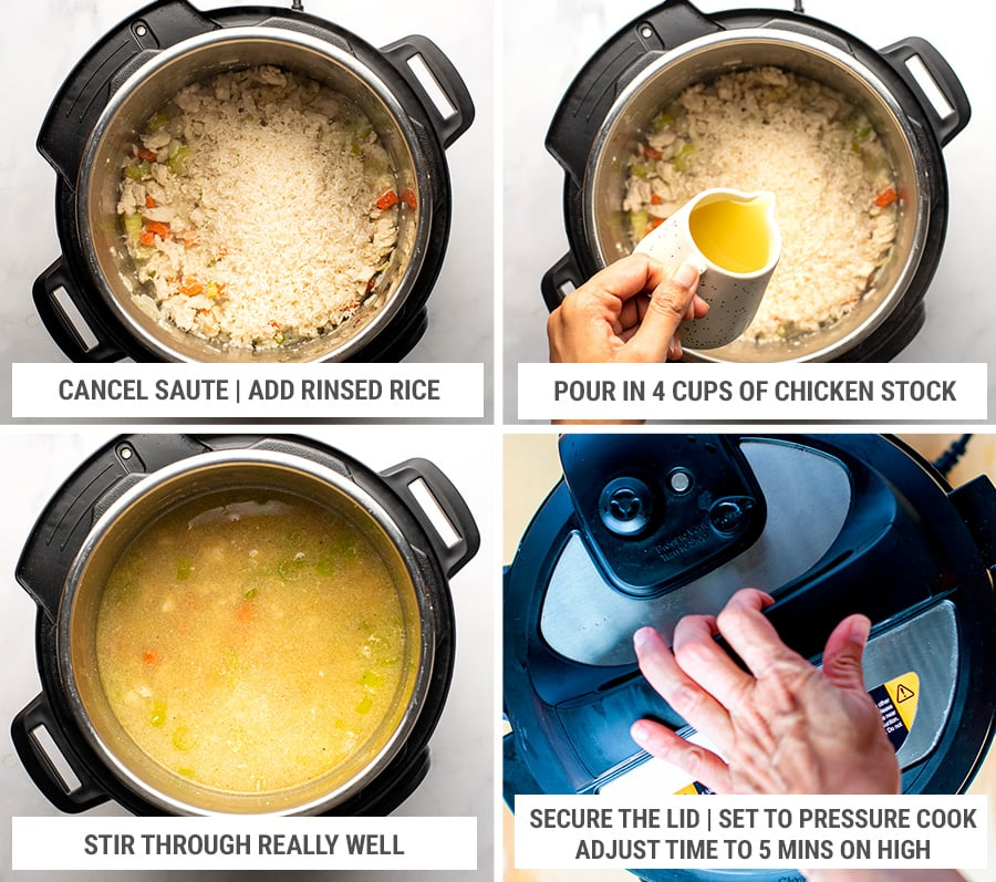 How to cook chicken broccoli and rice in the Instant Pot steps 2