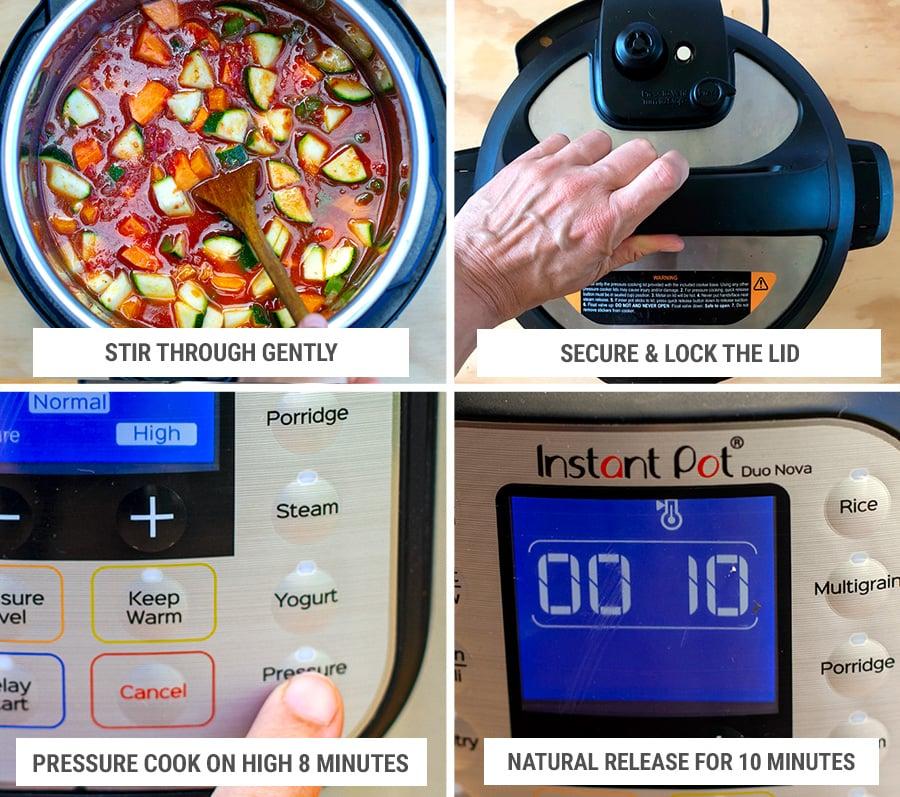 Pressure cooker settings for lentil stew step 5