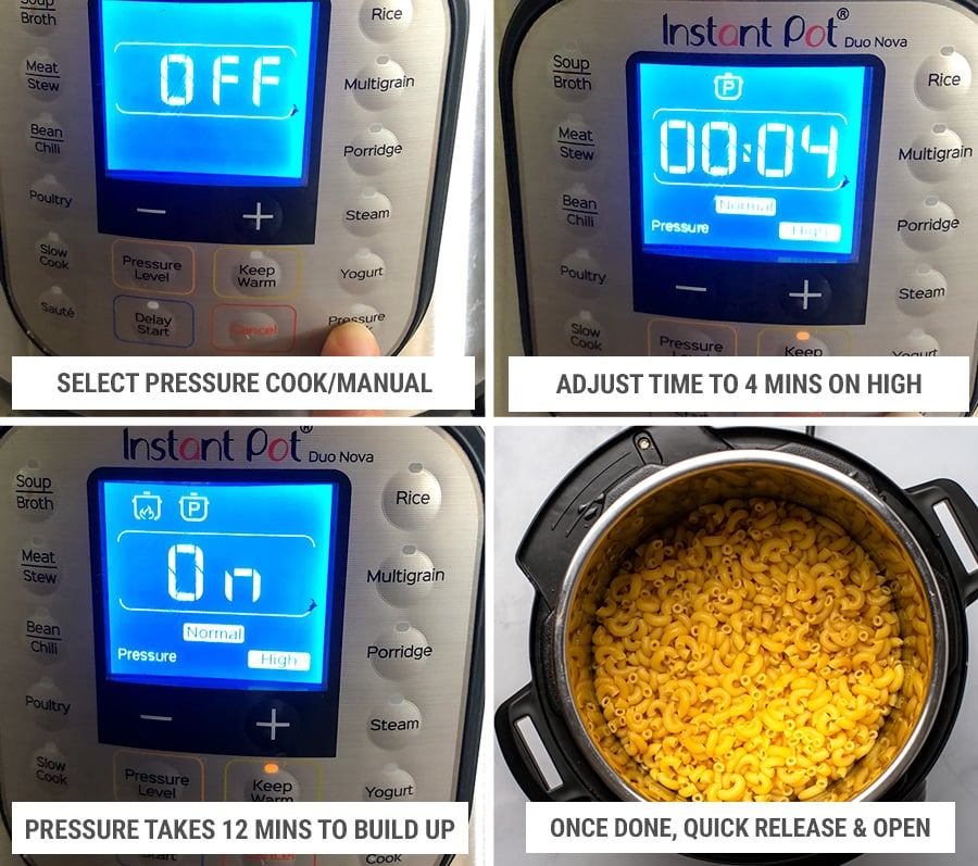How to cook Instant Pot mac and cheese step 2 - settings