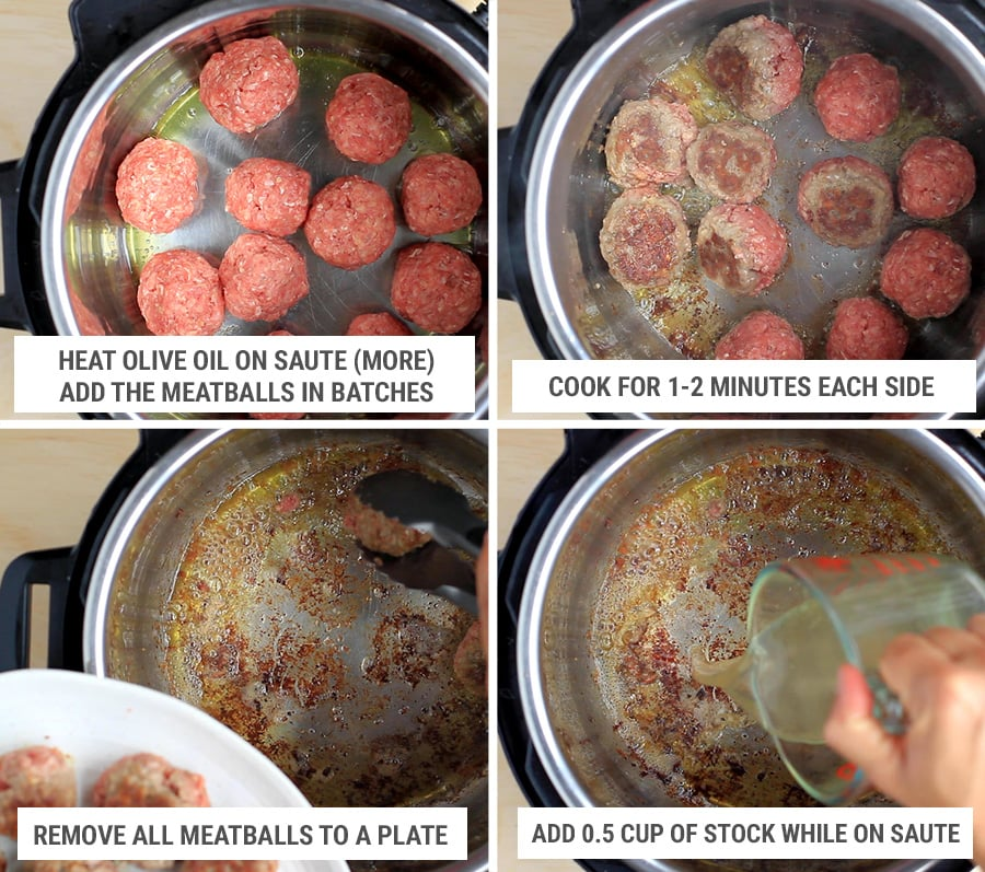 How to make salisbury steak meatballs in Instant Pot step 2 - sear the meatballs