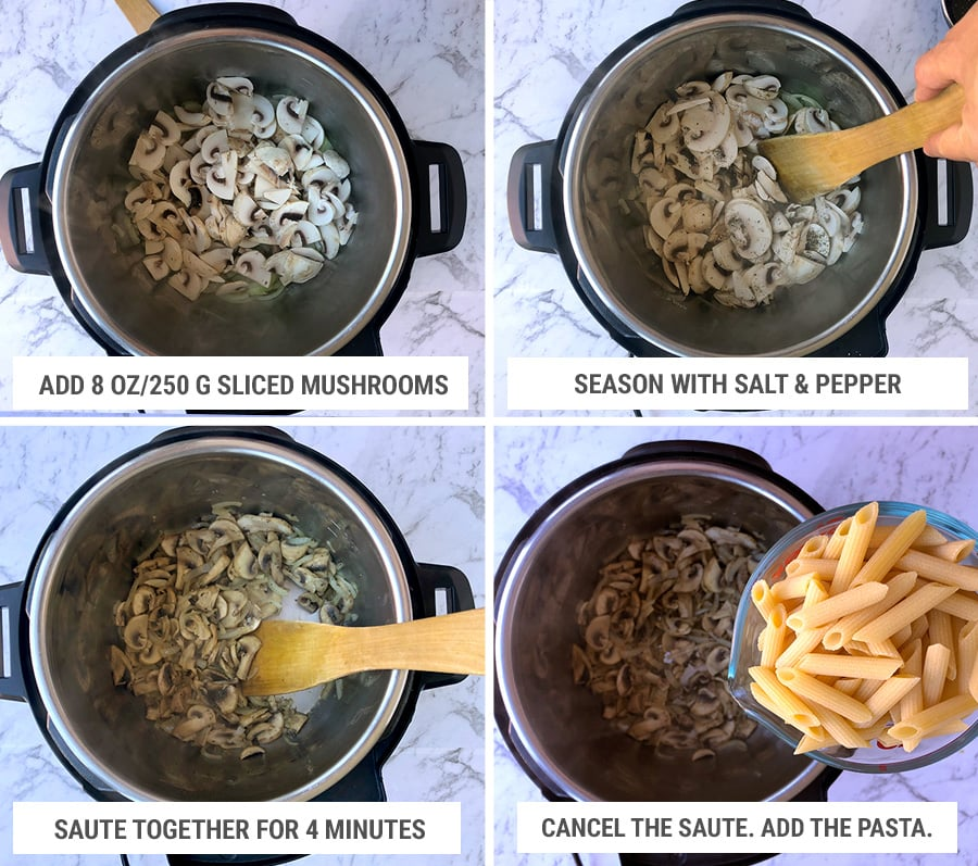 How to make mushroom pasta in Instant Pot: sauteeing mushrooms