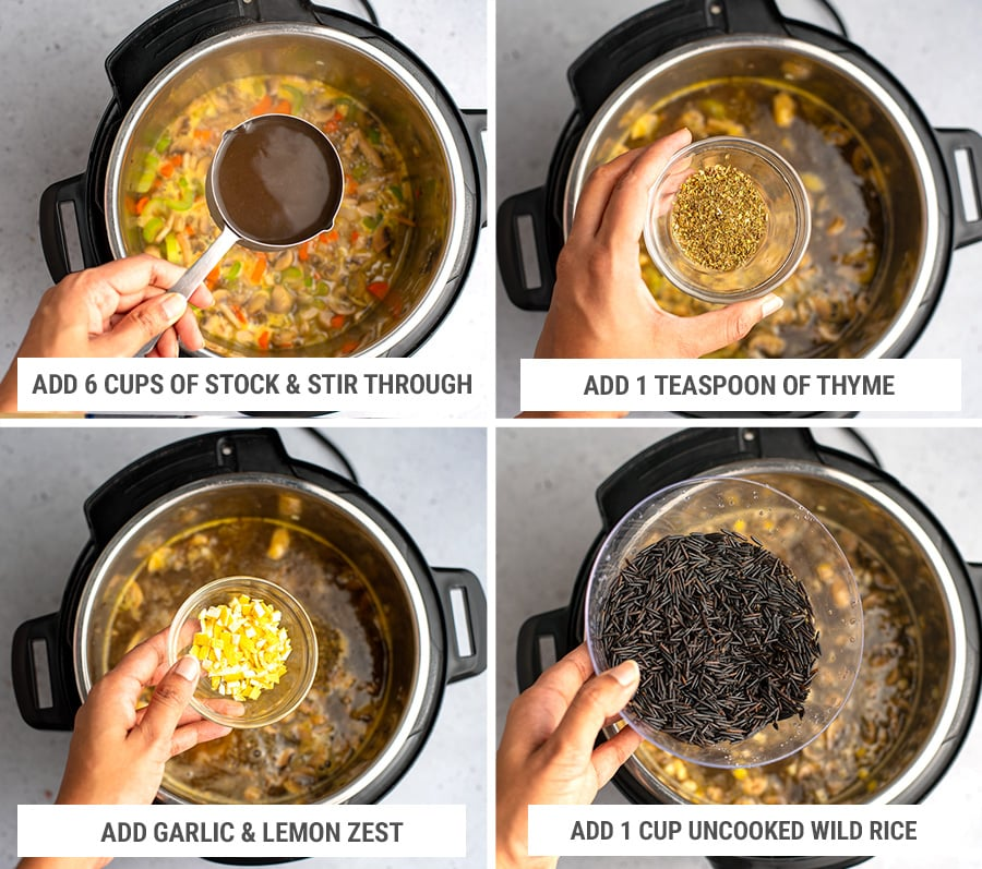 How to make wild rice mushroom soup in Instant Pot step 2
