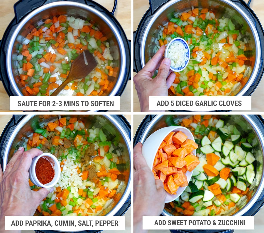 How to make vegetable lentil stew step 3 - sauteeing