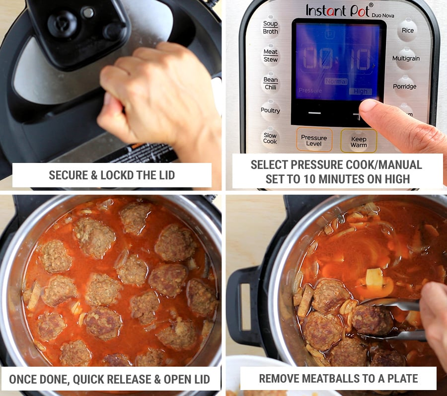 Cooking settings for pressure cooker meatballs salisbury style - step 4