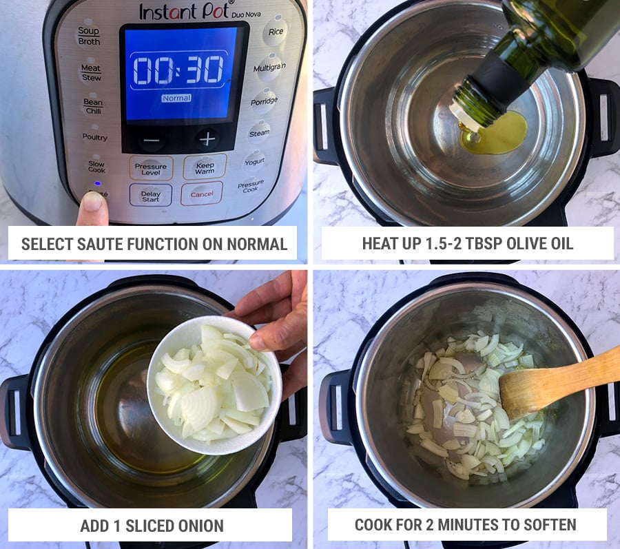How to make Instant Pot mushroom pasta: sauteeing the onions