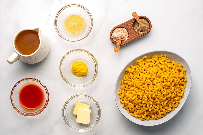 Mac and cheese ingredients for Instant Pot cooking stage