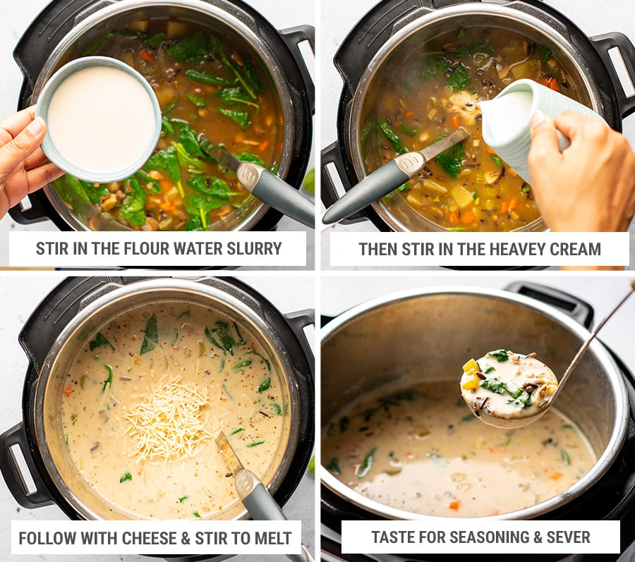 Thickening wild rice soup with flour slurry, cream and cheese
