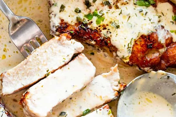 Instant Pot Pork Chops Recipe with Creamy Ranch Sauce