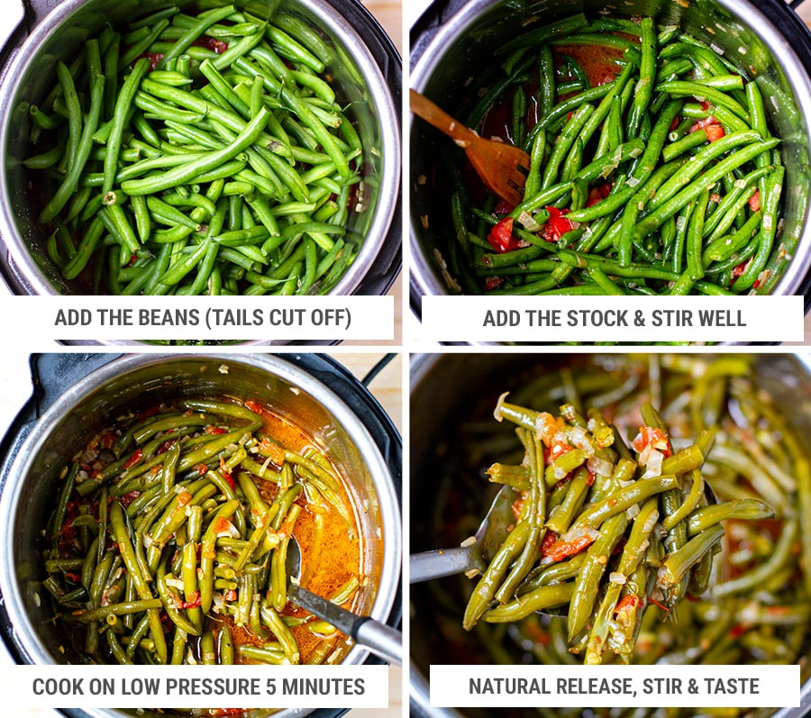 Making Instant pot braised green beans steps