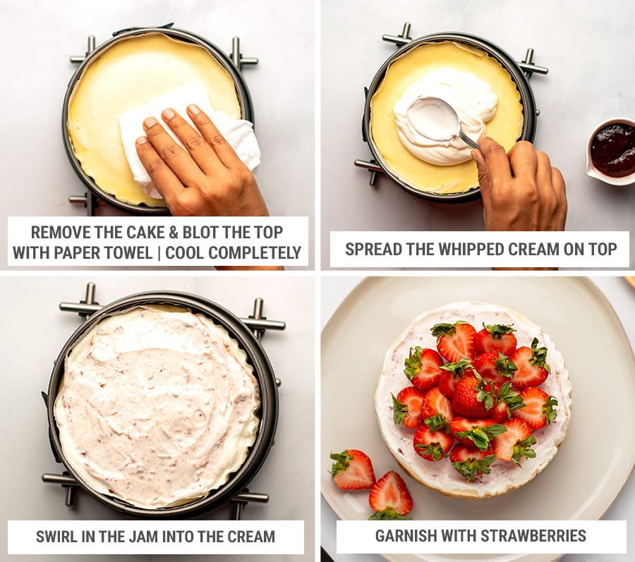 Finishing the cheesecake with strawberry whipped creamed topping and strawberries
