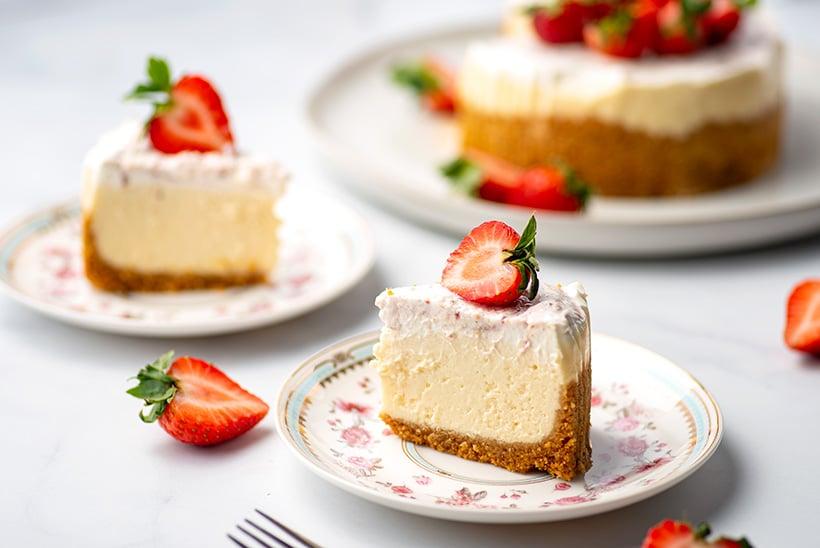 Pressure cooker cheesecake vanilla filling and strawberry cream top