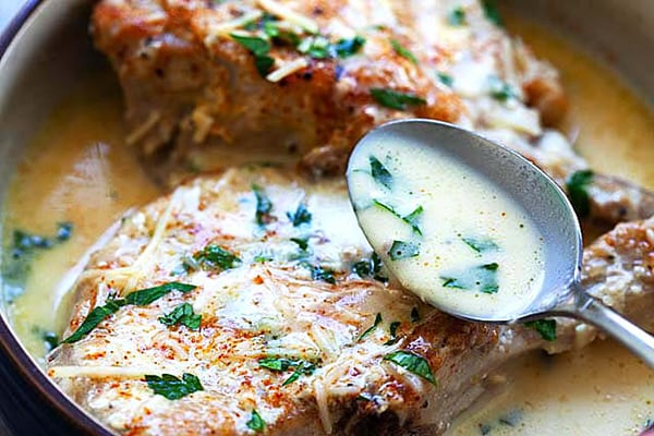 INSTANT POT PORK CHOPS with creamy garlic Parmesan sauce