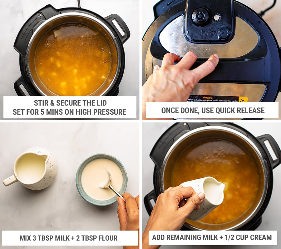 How to cook loaded potato soup in the Instant Pot steps 2