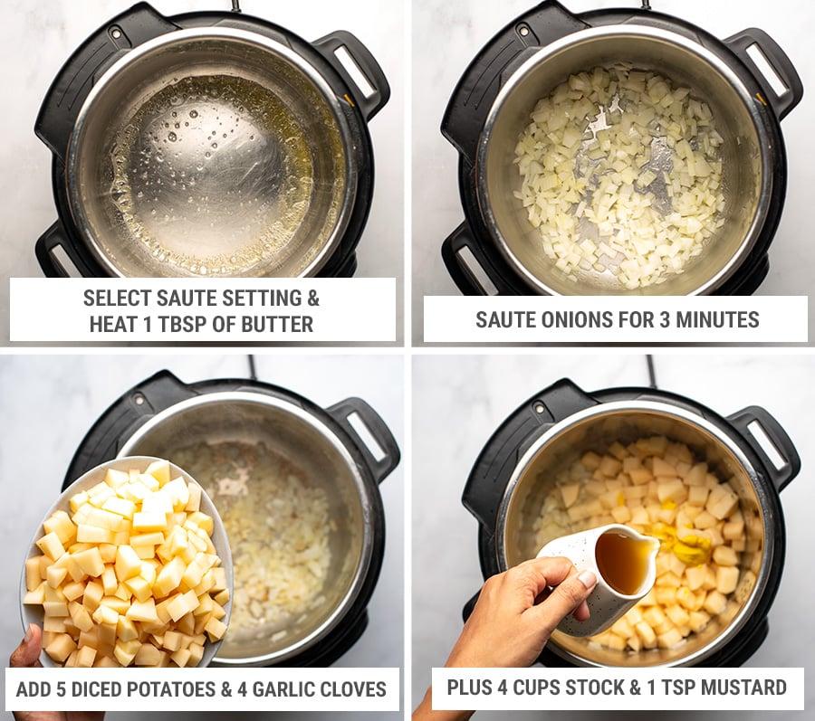 How to make Instant Pot loaded potato soup steps 1