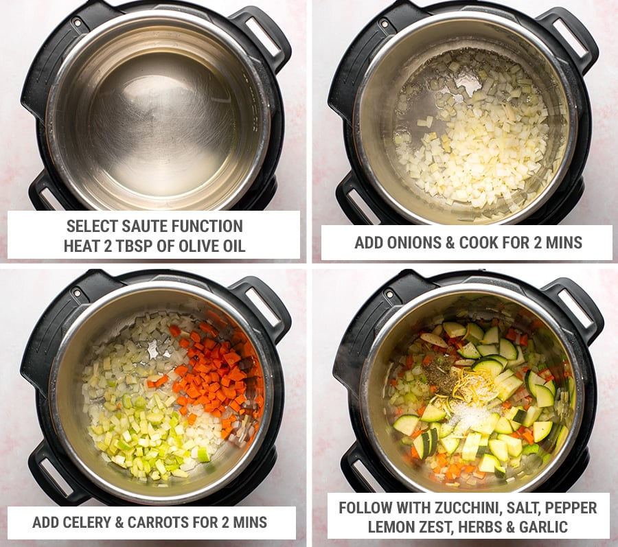 How to make Instant Pot vegetable risotto steps 1