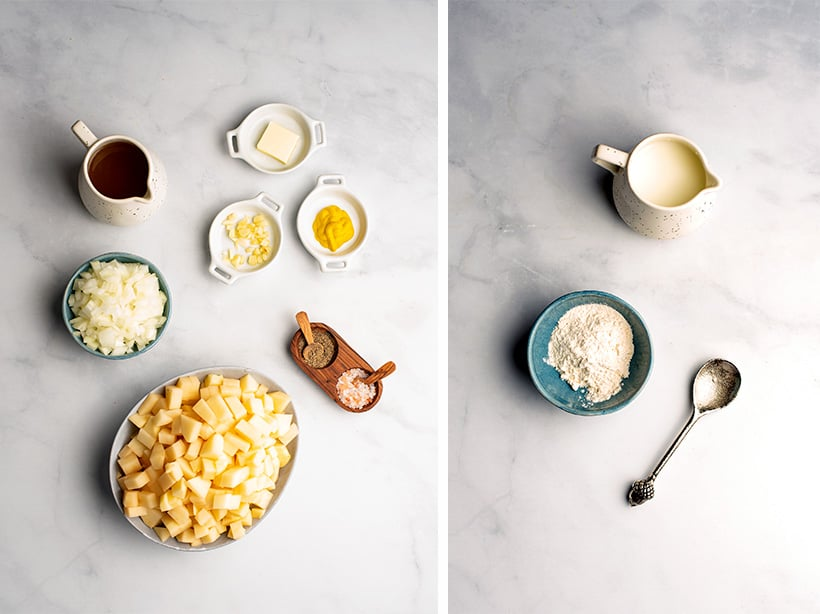 Loaded potato soup ingredients