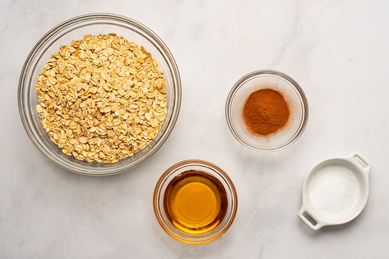 Ingredients for Instant Pot rolled oats cooking stage