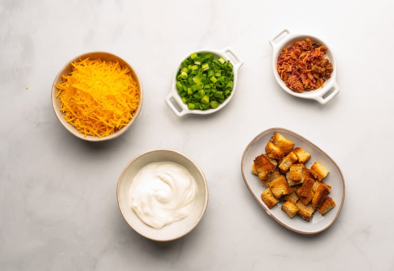 Loaded potato soup toppings