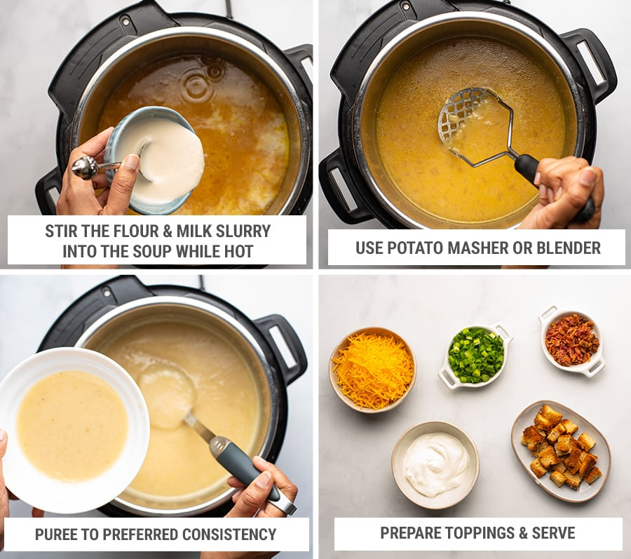 How to make Instant Pot potato soup with toppings