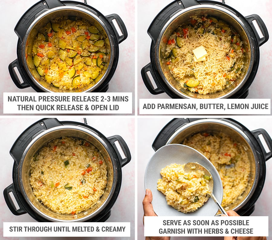 Making Instant Pot Risotto - finishing steps