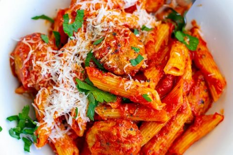 Instant Pot Pasta With Tomato Meatballs