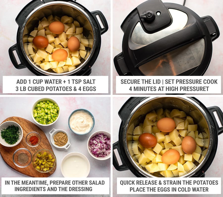 How to make Instant Pot potato salad with eggs and creamy dressing